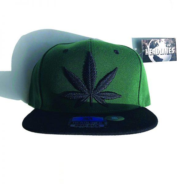 Black Weed Leaf Hat - Green