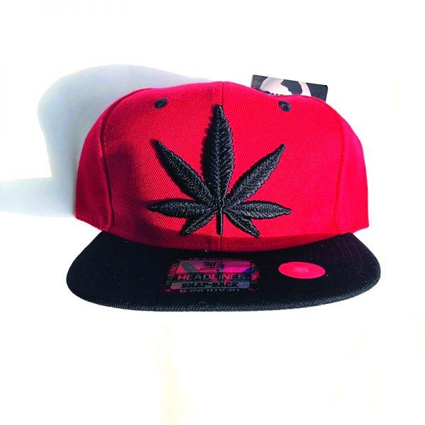 Black Weed Leaf Hat - Red
