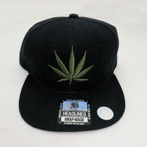 Cannabis Marijuana Pot Leaf Hat Black Hat - Army Olive Green on Black Embroidered Leaf with Side Embroidered Leaf