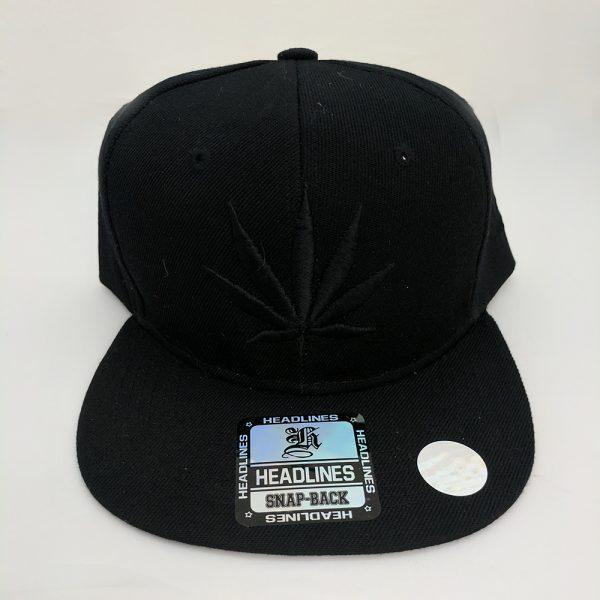 Cannabis Marijuana Pot Leaf Hat Black Hat - Black on Black Embroidered Leaf with Side Embroidered Leaf