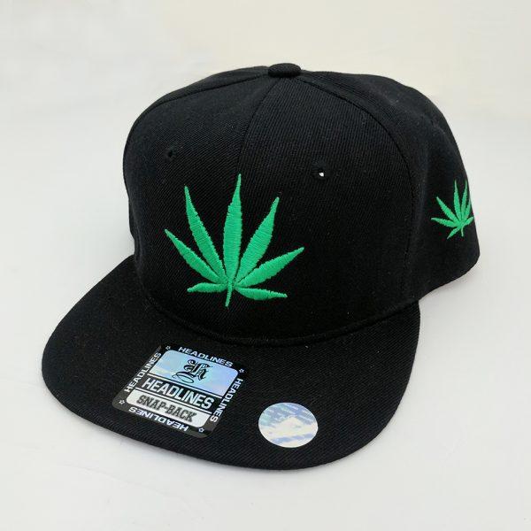 Cannabis Marijuana Pot Leaf Hat Black Hat - Neon Green Embroidered Leaf with Side Embroidered Leaf